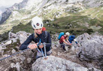 A via ferrata harness provides the necessary safety.