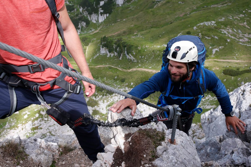 Via ferrata for beginners - Core equipment is the Klettersteigset: Modern Y-climbing sets with top level safety devices.
