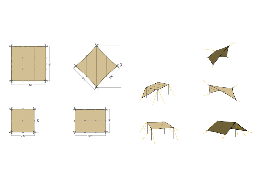 Different construction possibilities of a tarp.