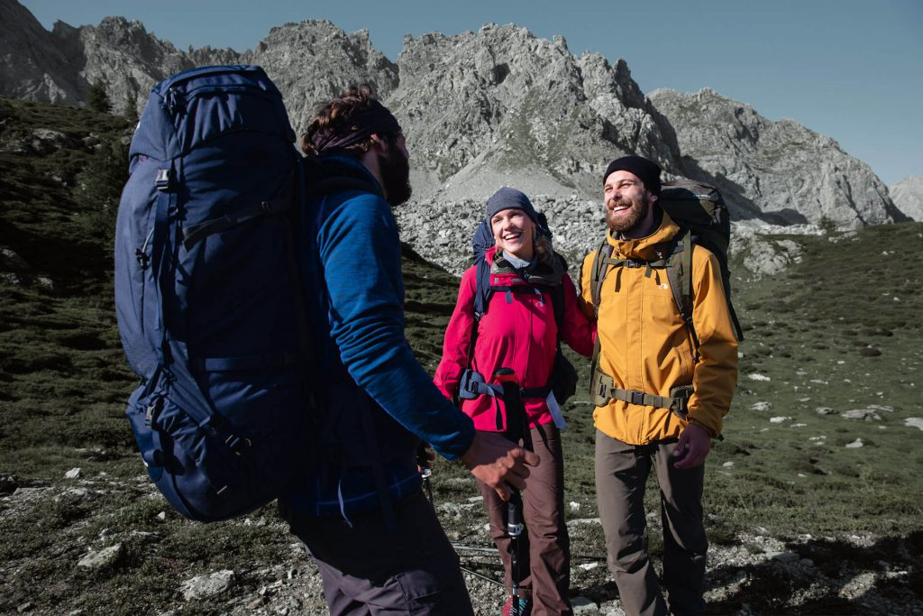 A hardshell jacket is suitable for tours with a heavy backpack.
