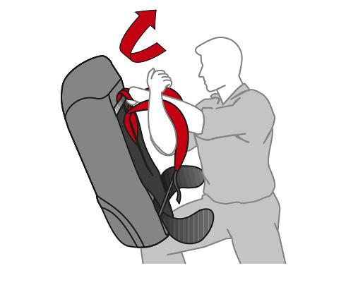 Das Absetzten auf dem Oberschenkel hilft beim Aufsetzen des Rucksacks.