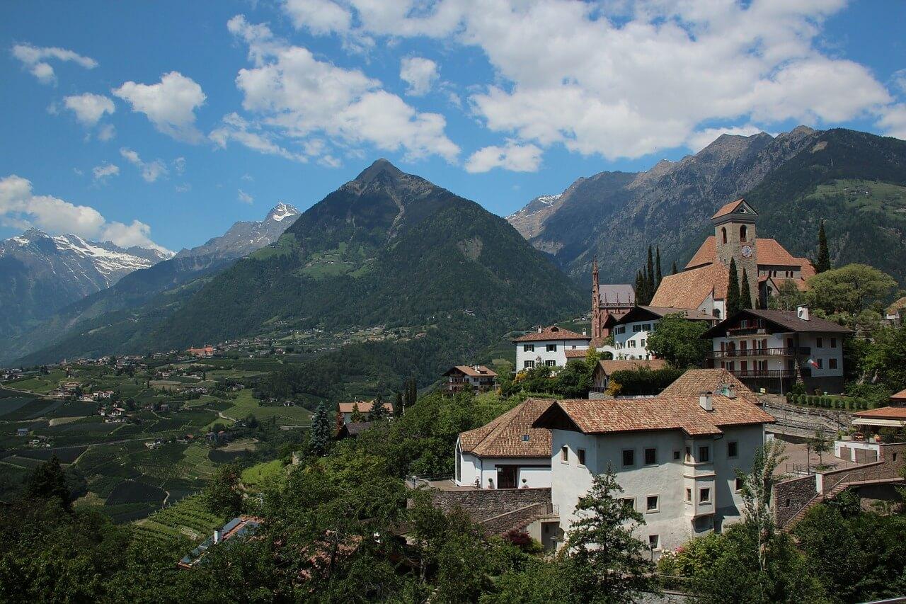 Biking in Vinschgau - landscape in South Tyrol.