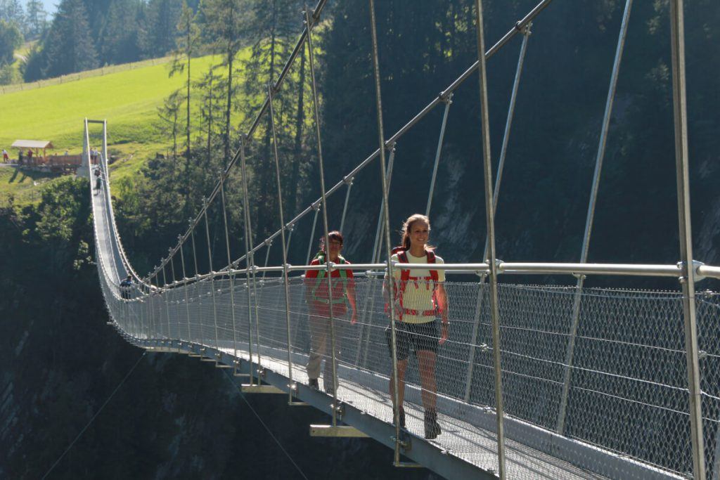 Pedestrian suspension bridge near Holzgau.