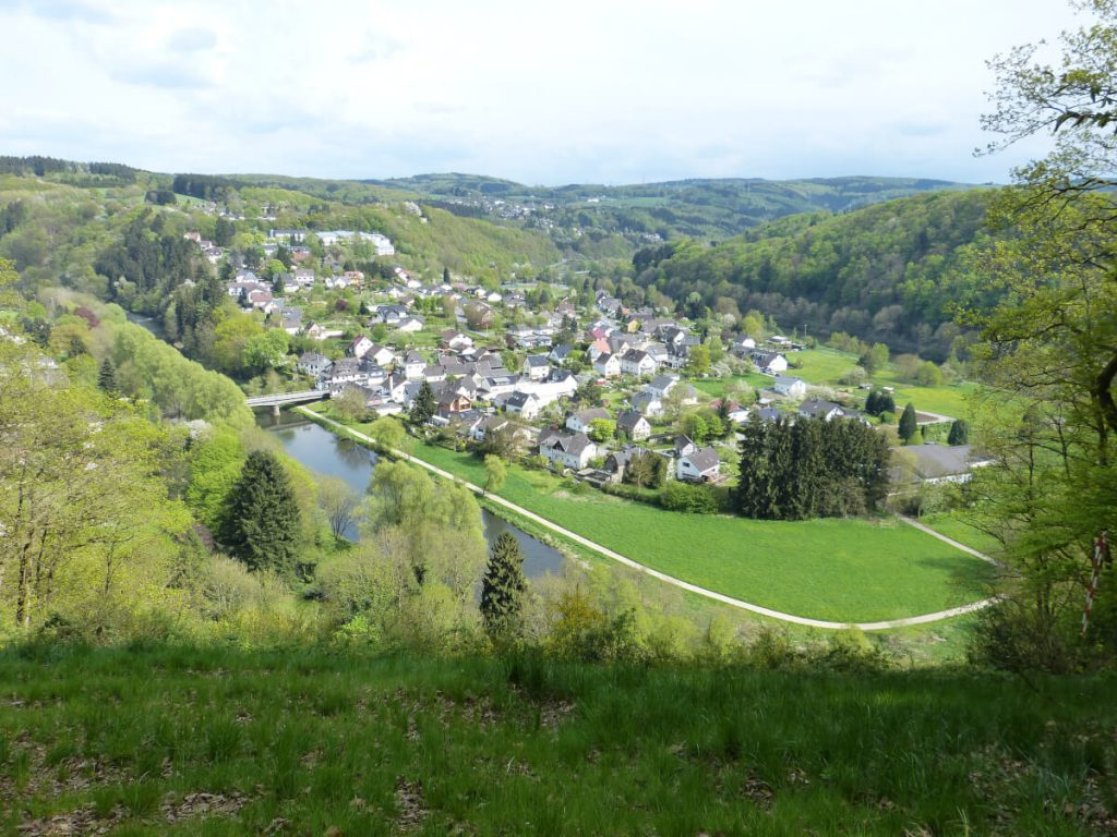 View from above to a small village in the nature region Sieg.