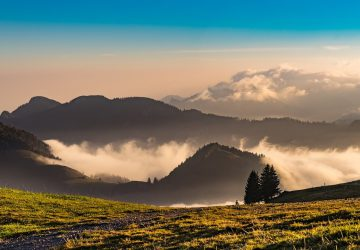 Mountain biking Tegernsee - Mountain landscape at dawn with light fog.