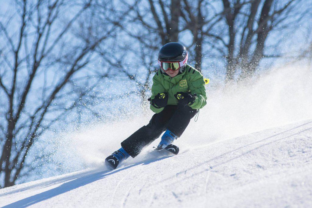 Skiing German Uplands -Boy skiing.