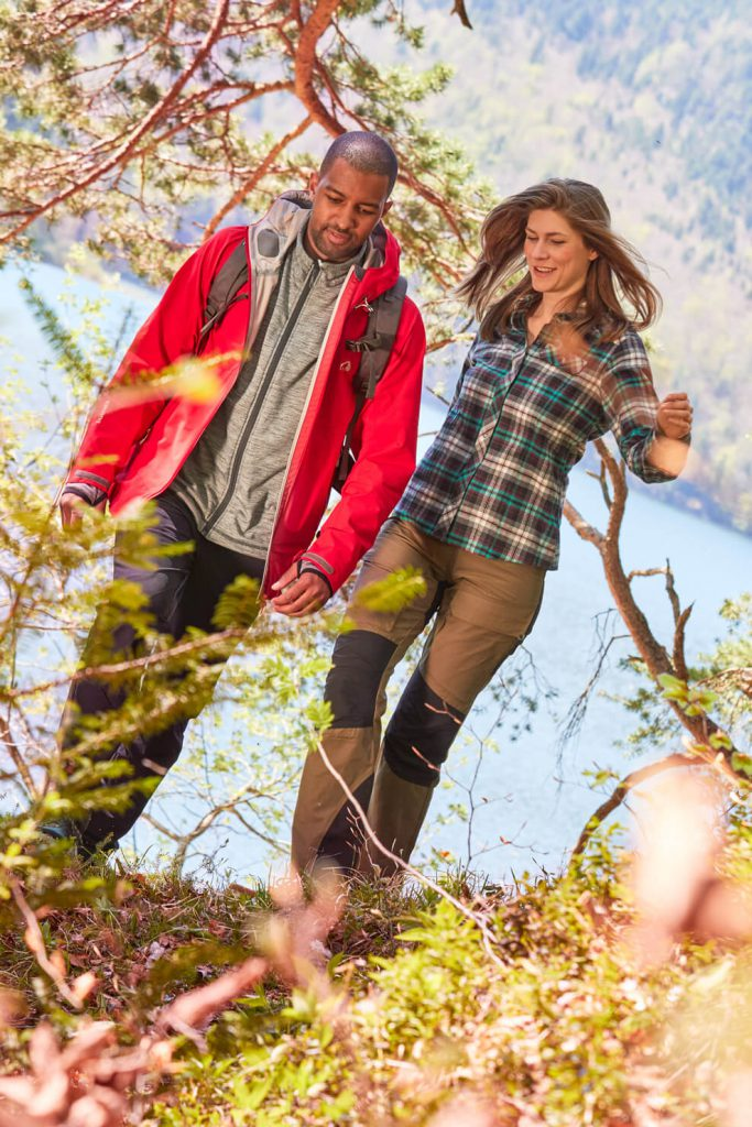 Outoor wear basics - Two hikers with outdoor clothing going for a walk.