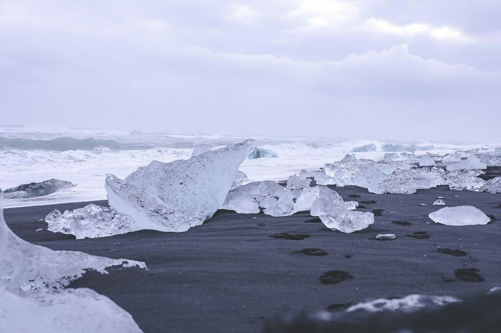 Icland travel - Glacier lagoon Jökulsarlon with ice chunks.