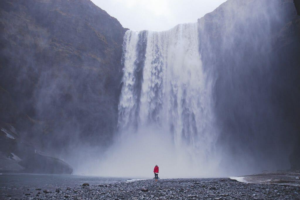 The Skogafoss waterfall on Iceland.