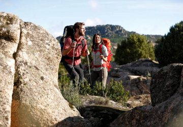 Long-distance hiking trails Germany - Two hikers with trekking backpacks on tour.
