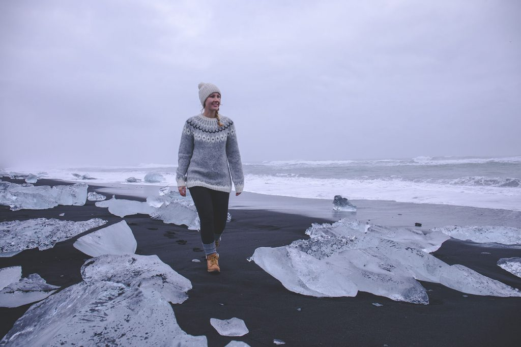 Iceland Sights - Line at the black sandy beach of the glacier lagoon Jökulsarlon in Iceland.