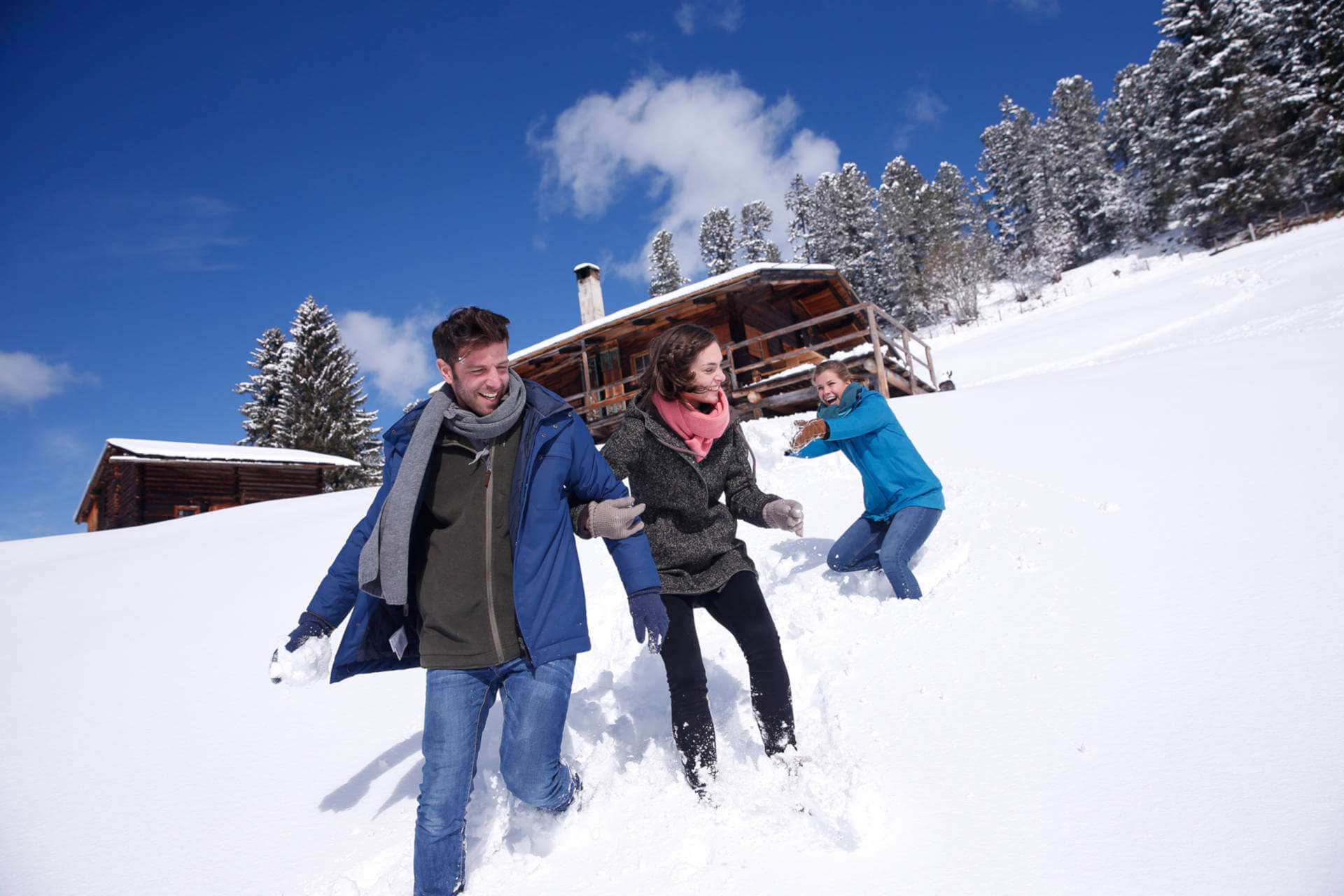Fit and healthy during the winter season with outdoor activities.