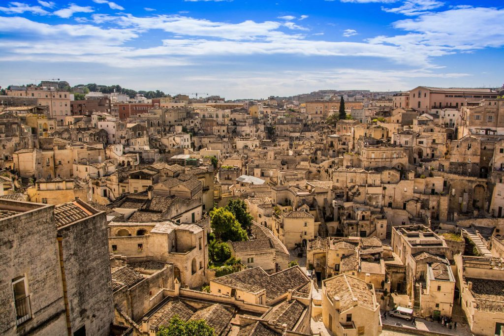 View from above to the city of Sassi di Matera.