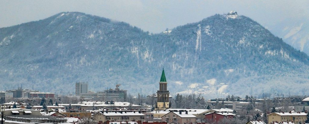 The city of Ljubljana with the mountain Smarna Gora in the background.