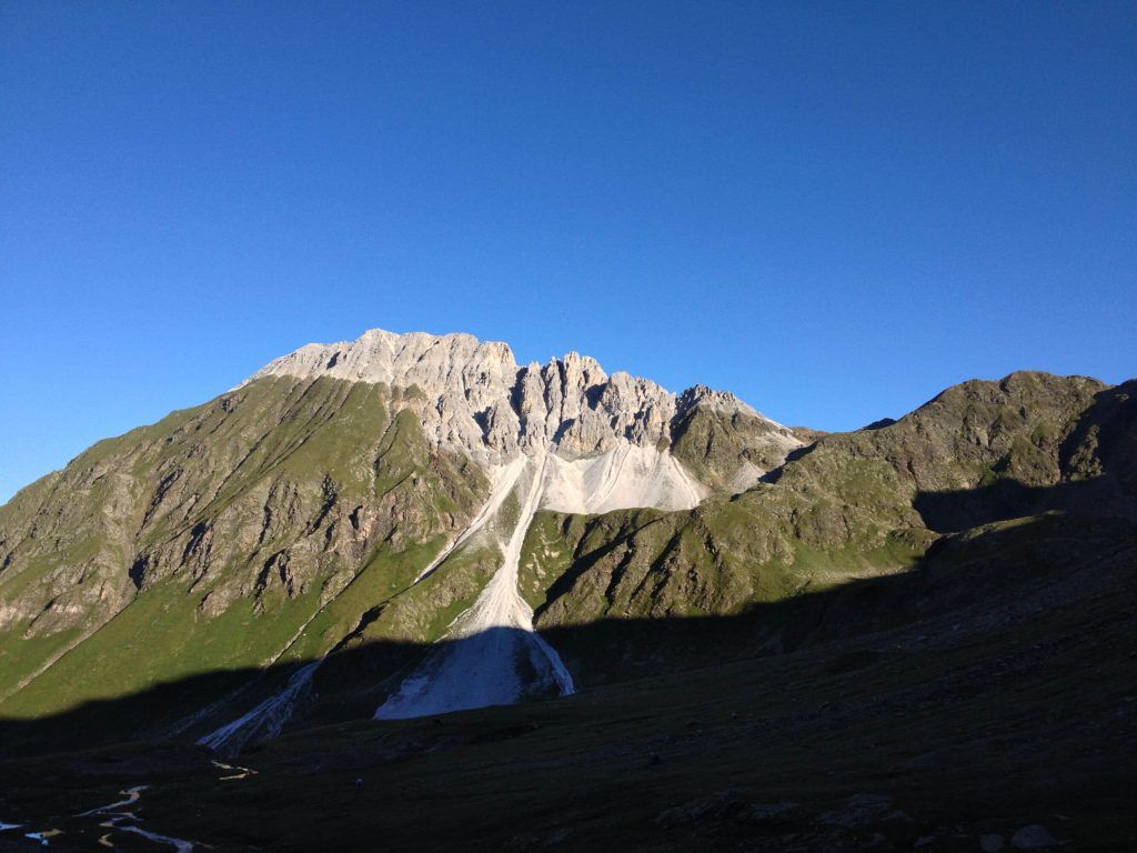 Hiking in South Tyrol - View of a mountain ridge in the Stubai Alps.