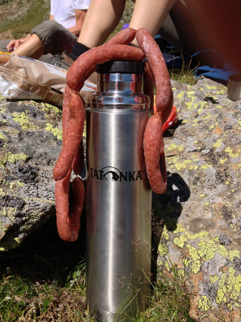 Tatonka thermos jug with delicious sausage chain.