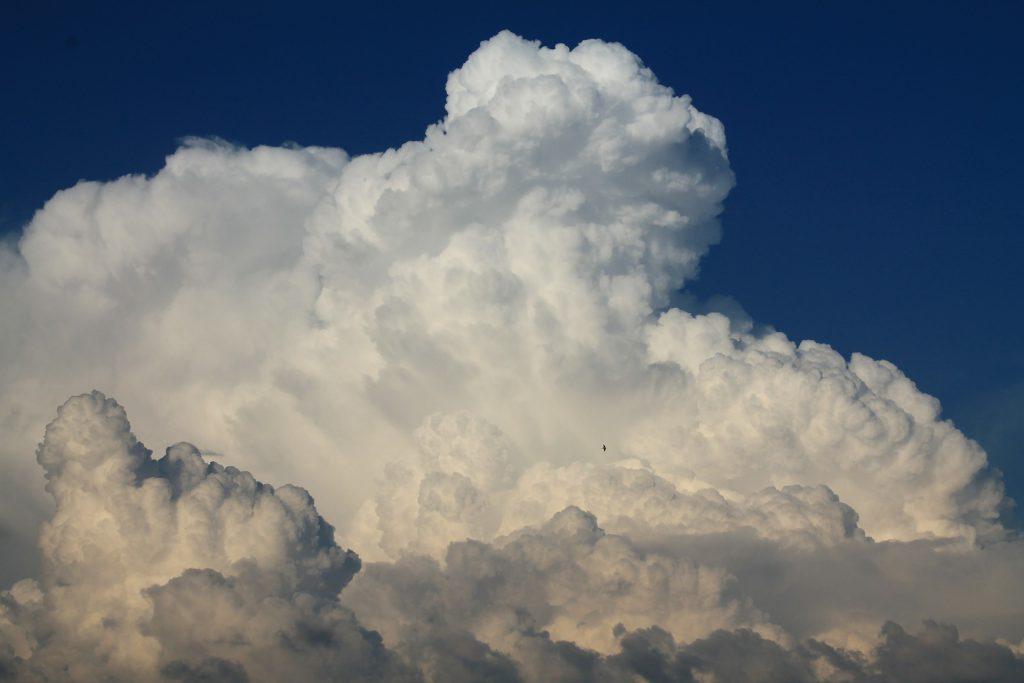 Cumolonimbus-Wolken sind typische Gewitterwolken, die sich hoch auftürmen.